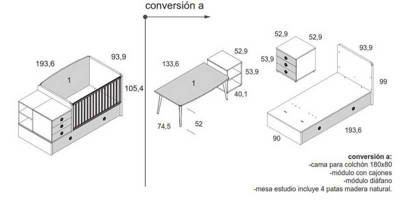 cuna convertible muebles ros 21 plus 12 tecnico