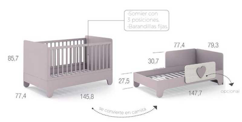 habitacion infantil ros mini 02 soft wood cuna 70x140